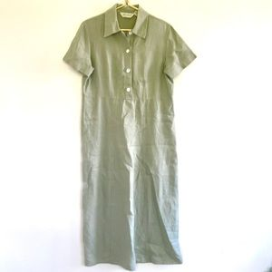 EDDIE BAUER 100% Linen Midi Dress Green size M